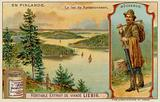 Lumberjack and Lake and Forests Near Kesamonsaari