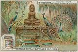 Statue of the Goddess Uma in a Forest with Peacocks