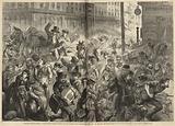 Panic-stricken citizens rushing past the Sherman House