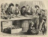 Young ladies of the ruined city making and distributing sandwiches to starving and destitute children