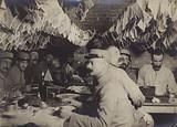 The French aviators' photographic section in the Marne, Dining while the photos dry on the clothes line