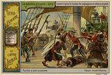 British marines repelling a pirate attack, 1850
