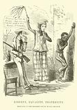 Punch cartoon: Liberty, Equality, Fraternity, applied in the United States, in the form of Slavery