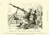 Punch cartoon regarding John Bright: Recoil Of The Great Chinese Gun-Trick, 11 April 1857