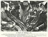 Punch cartoon: A Study of Omnibus Life – scene on a London bus