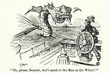 Punch cartoon: Helmsman of a ship menaced by a sea serpent