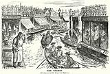 Punch cartoon: houseboats converted into shops on the River Thames in London