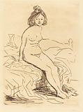 Nude Woman, Seated on Her Bed, Front View