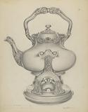 Silver Kettle with Lamp & Stand