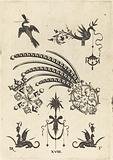 Two Brooches with Bird and Winged Snake at Top and Griffins with Vases at Bottom