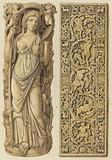 Renderings of an Ivory Carving of Ariadne from the 6th Century and an Ivory Plaque from the 9th Century