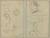 A Caricature and Five Forms; A Man in Profile, a Winged Creature and a Boy