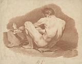 Seated Nude Man, Seen from Behind, Pulling a Rope