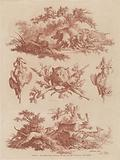 Hunting Trophies and Vignettes with Dogs Chasing a Boar and a Stag