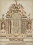 An Elaborate Altar of Coloured Marble Ornamented with Sculptures
