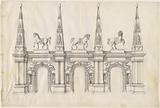 A Triumphal Arch with Caparisoned Horses and Ornamented Pinnacles