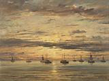 Sunset at Scheveningen: A Fleet of Fishing Vessels at Anchor