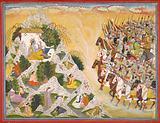 Jarasandha's army advances toward Krishna and Balarama, folio from a Mahabharata