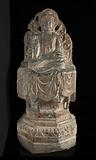 Seated Buddhist figure: high octagonal pedestal and perforated background