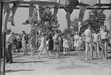 Spectators at beauty contest held during July 4th celebration at Salisbury, Maryland