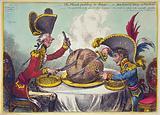 The Plumb-pudding in danger, or, State epicures taking un petit souper … William Pitt, wearing a regimental uniform …