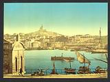 View of Notre Dame de la Garde and harbor, Marseilles, France