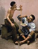 Macaroni seller, Naples, Italy
