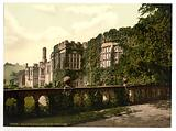 Haddon Hall, from terrace steps, Derbyshire, England