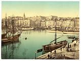 Old Harbor (Vieux-Port), Marseille, France, with Hôtel-Dieu Hospital in background