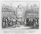 A sketch of the interior view of the House of Lords, representing the trial of her majesty Queen Caroline