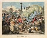 Het jaar 1804! !!. Dutch cartoon forecasts aeronautic events for the year 1804 by showing a scene at a failing balloon …