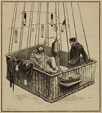 View of journalist Joseph Crocé-Spinelli, naval officer Henri Sivel, and Gaston Tissandier in the basket of the …