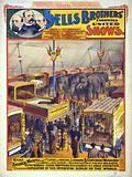 Sells Brothers' enormous united shows – Rare zoological marvels … Poster showing animals on exhibit in a tent, …