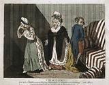 """Crim. Con. Cartoon print showing a woman who has taken an amorous couple by surprise, and says, """"Get out of my house, …"""