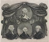 American star. Oval medallion portraits of George Washington and (below, left to right) Thomas Jefferson, James …