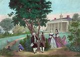 Mount Vernon. George Washington and the Marquis de Lafayette are in group on lawn