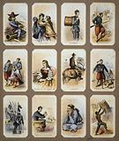 Life in camp, part 2 Souvenir cards showing the daily life of Union soldiers during the Civil War, on the front, in …