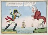 """An altercation concerning r-l wives, &c Print shows Napoleon I standing on a slip of land labeled """"Elba"""" yelling at …"""