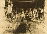 Interior of a shack occupied by berry pickers