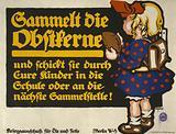 Sammelt die Obstkerne … Poster shows a little girl with a backpack holding a fruit pit
