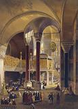 Print shows the gallery and imperial tribune of Ayasofya Mosque, formerly the Church of Hagia Sophia