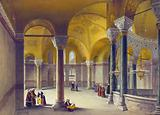 Print shows interior of gynaeceum of Ayasofya Mosque, formerly the Church of Hagia Sophia