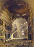 Print shows nave of Ayasofya Mosque, formerly the Church of Hagia Sophia, facing east, before restoration