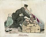 Pere-scie. Print shows Jean-Charles Persil wearing minister's robes, with long saw-toothed nose with which he attempts …