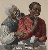 A sure winner. Tobacco advertising poster (cut down), showing an African American couple, as the woman offers the man …