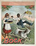 Bock. Stock poster for bock beer, showing a waitress with a tray of beermugs exclaiming, as a billy goat, the symbol …