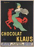 Chocolat Klaus. Advertisement poster showing a woman in a green dress astride a galloping red horse
