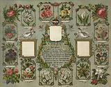 Our family. Print showing an oval design composed of flowers in frames fashioned from tree branches with roses in the …