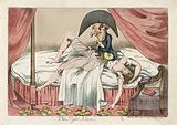 The night mare. Cartoon shows a scantily clad woman asleep on a bed, a little man sitting on her chest pulling back …