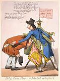 """Billy's Raree-Show or John Bull en lighten'd """"Pitt, as a peep-show man, stands by his box, which is supported on …"""